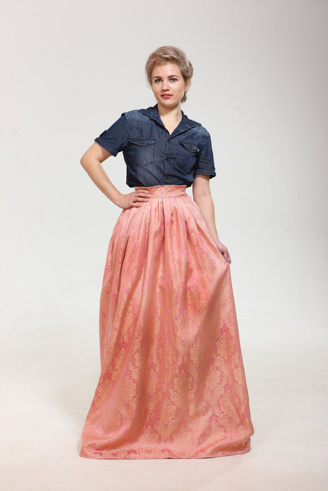 Just Breathtaking! Exclusive full shaped maxi skirt from thin exclusive floral pink brocade with gold. Skirt with trail. - Corsettery Authentic Corsets USA