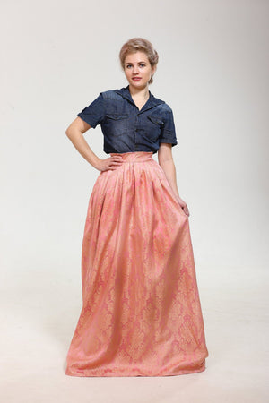Just Breathtaking! Exclusive full shaped maxi skirt from thin exclusive floral pink brocade with gold. Skirt with trail.