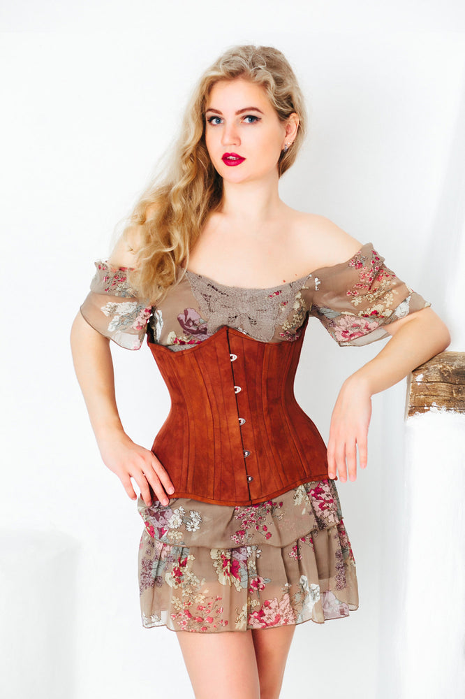 Real double row steel boned underbust corset from real brown suede. Exclusive steampunk historical corset with doubple rows of bones. - Corsettery Authentic Corsets USA