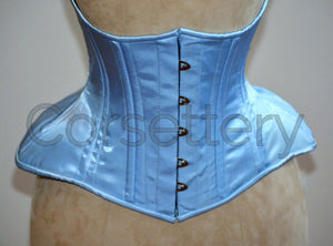 Very wide hips double row steel boned underbust corset from satin. Real waist training corset for tight lacing. Gothic, steampunk corset