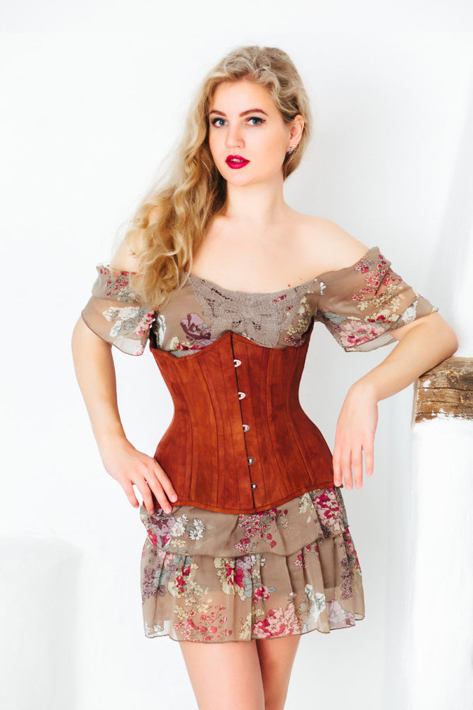 Real double row steel boned underbust corset from lambskin suede. Exclusive steampunk historical corset with double rows of bones. Western-Corsettery