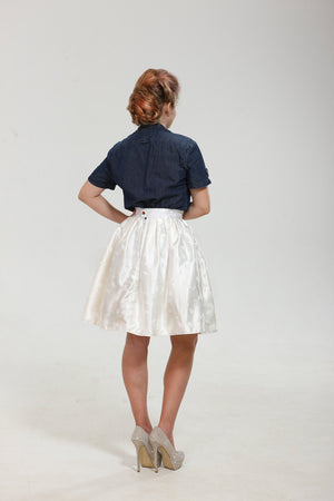 Very Tender! Exclusive full shaped skirt till knees from shiny luxury white brocade with leaves pattern. Classy vintage wedding bridal skirt