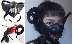 Black Leather Unisex Steampunk Mask, Half Face Protective Rock Mask