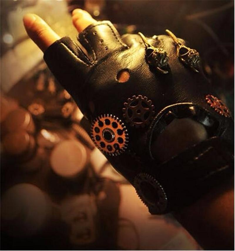 Japanese Harajuku Vintage Steampunk Gear Gloves, PU affordable gloves