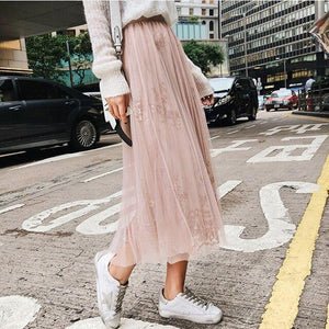 Grey/Khaki Lace sequins Female Tulle Skirt