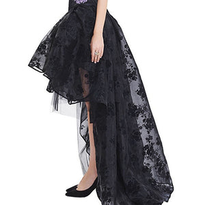 Black floral tulle steampunk or gothic skirt