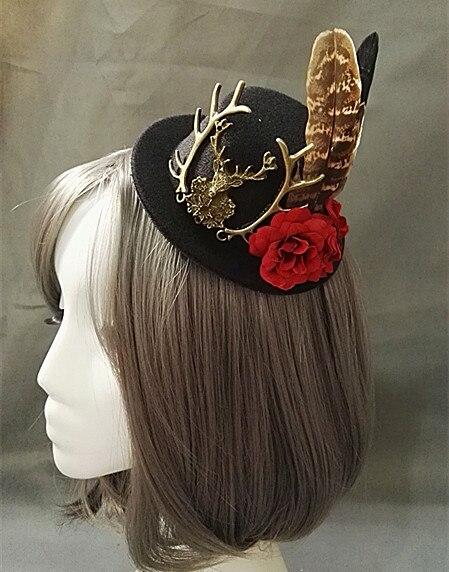 Handmade Victorian Steampunk Mini Top Hat with Deer brooch, Vintage Hair Accessories - Corsettery Authentic Corsets USA