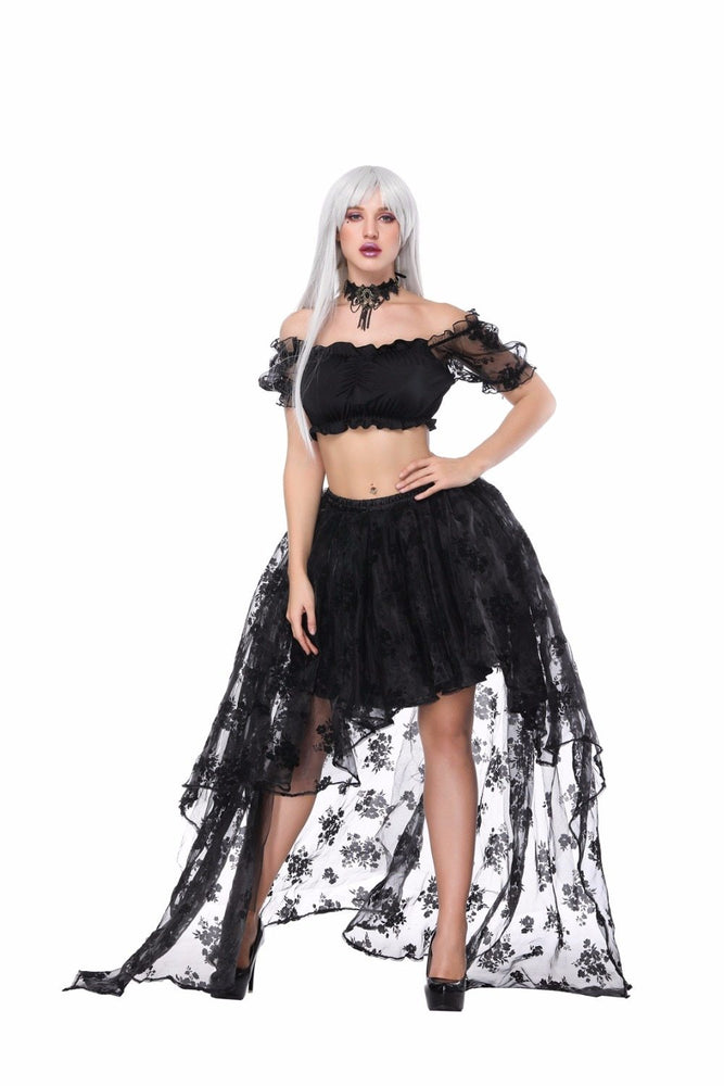 Asymmetrical Skirt Women Party Prom Retro Goth Overbust Corset TuTu Skirt Fancy Costume Sexy Gothic Corsets skirt-Corsettery