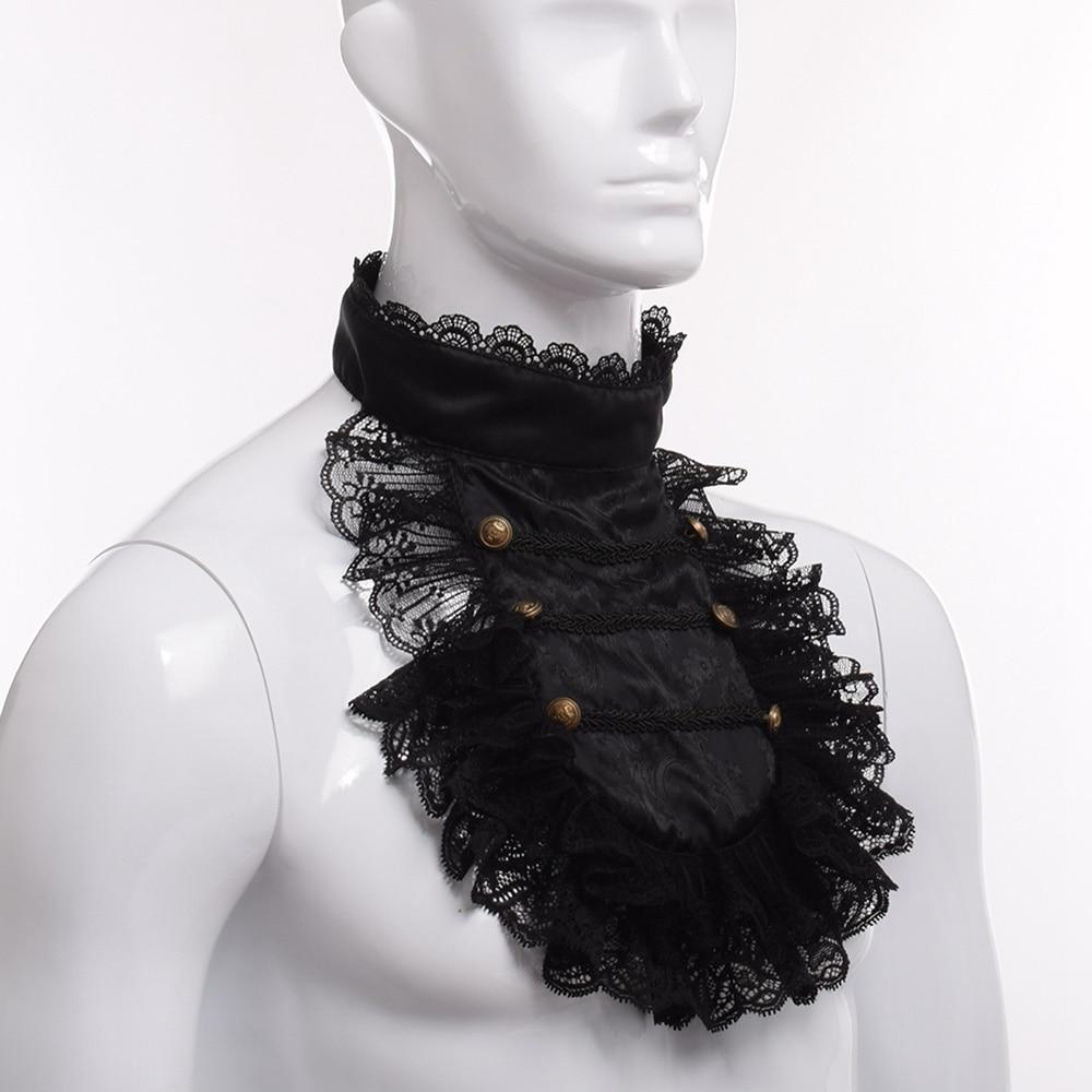 Baroque Prince Victorian Jabot Vintage Hand Made Steampunk Ruffle Black Lace Detachable Collar - Corsettery Authentic Corsets USA