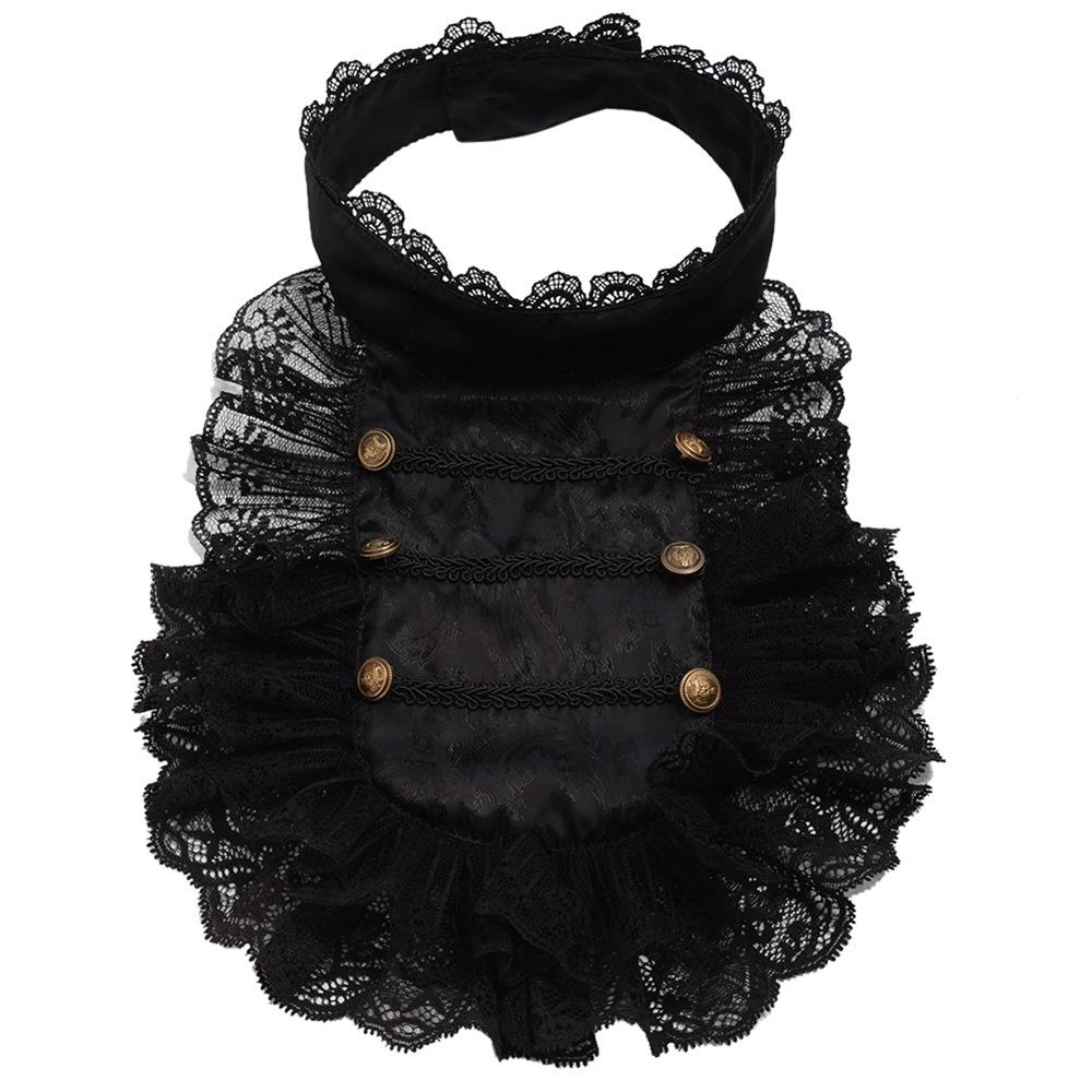 Baroque Prince Victorian Jabot Vintage Hand Made Steampunk Ruffle Black Lace Detachable Collar