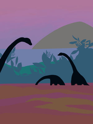 Sunset and dinosaurs