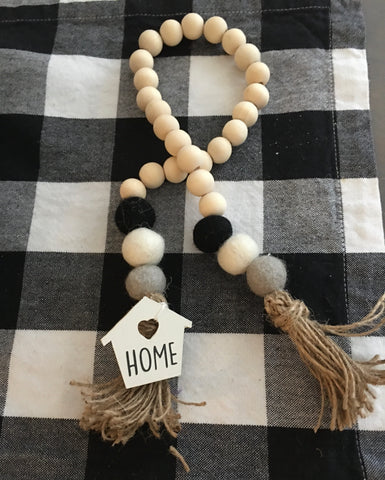 Farmhouse Home Beads Tassel Garland