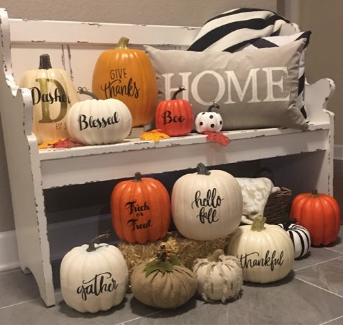 Custom Vinyl Decals for Pumpkins Home Decor