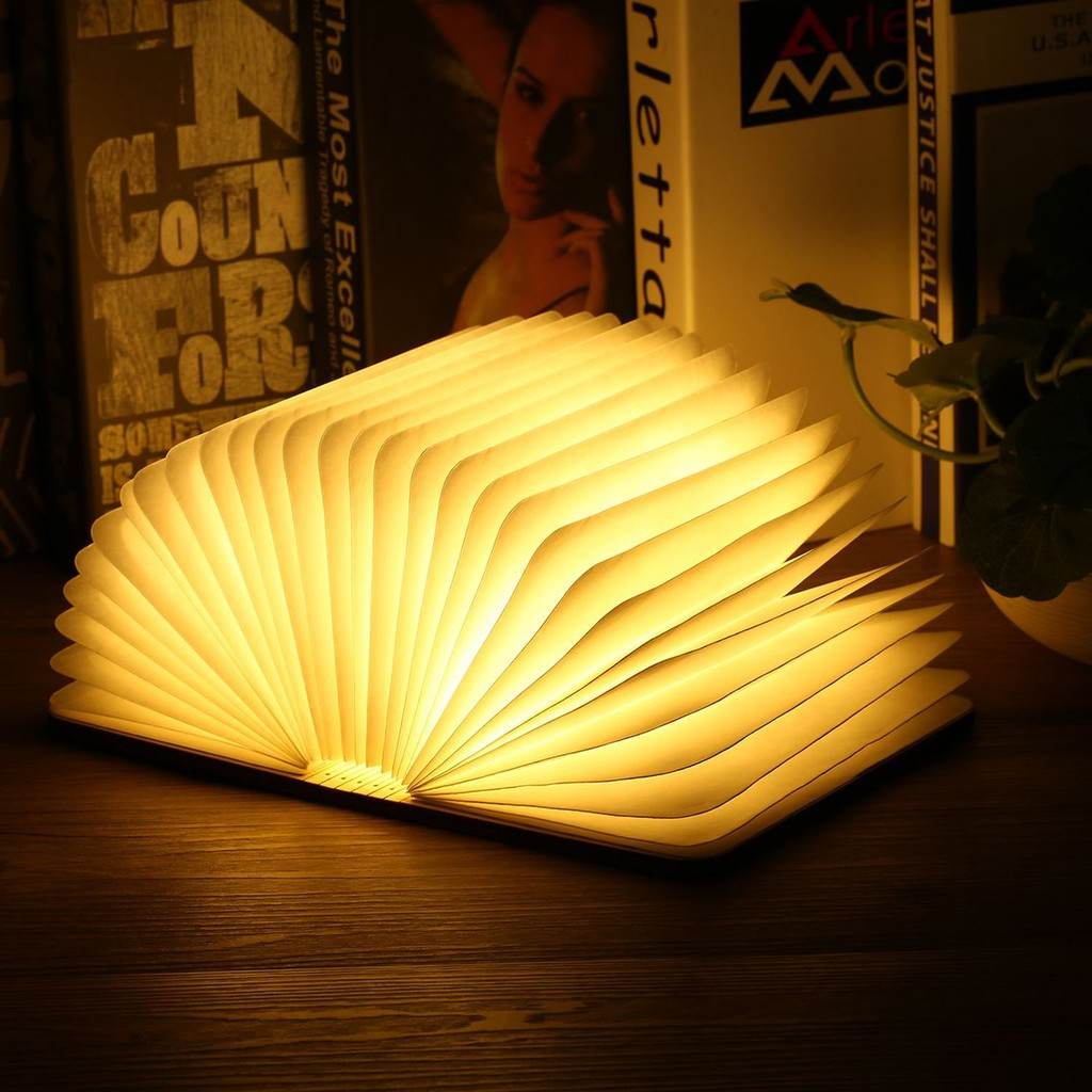 Wooden Magnetic Book LED Lamp