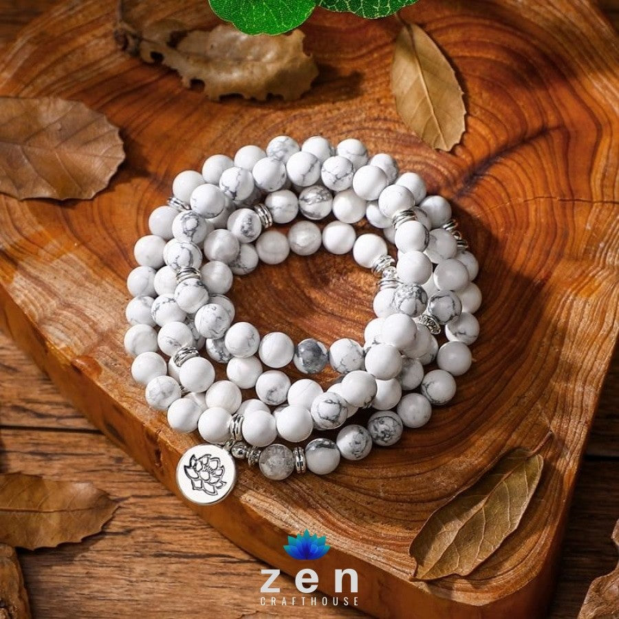 Attunement Howlite Mala | 4 Charms