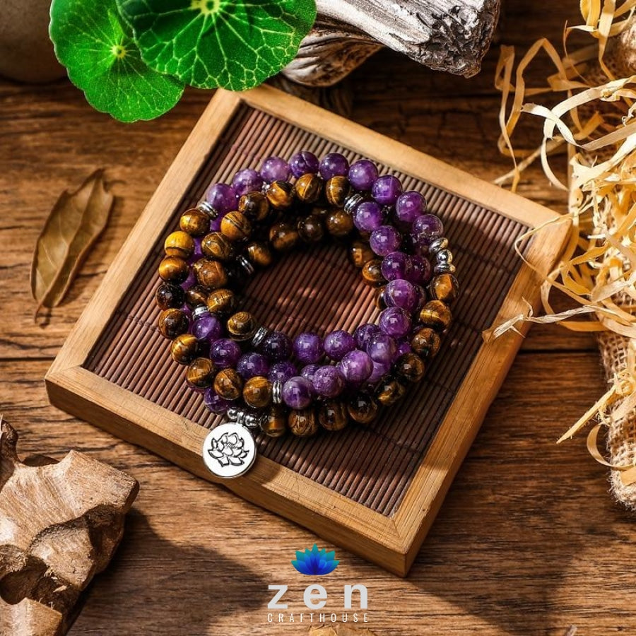 Peace & Protection Amethyst Tiger Eye Mala | 4 Charms