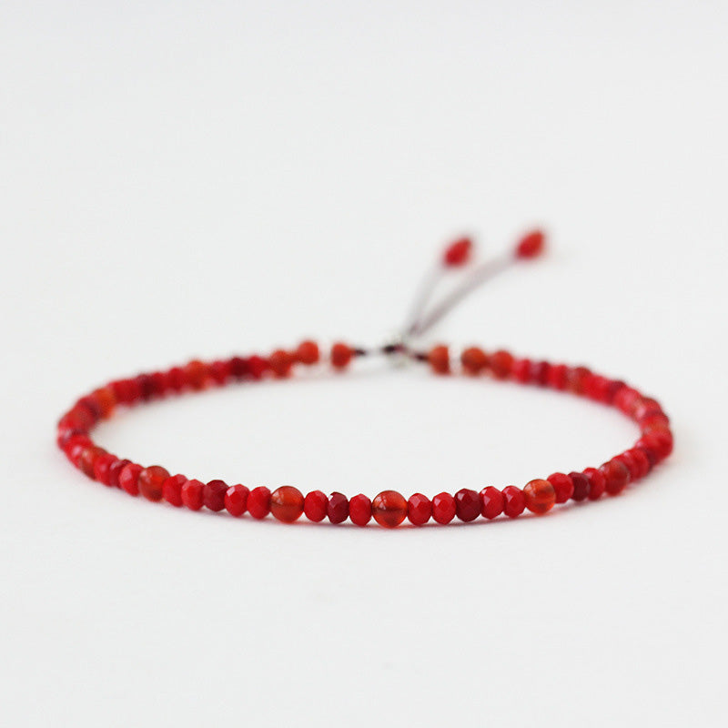 Natural Stone Handmade Strand Bracelet 3mm Red Rope Small Onyx Beads Thin Bracelets For Women 925 Silver Reiki Yoga Jewelry DIY
