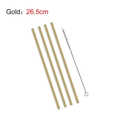 4Pcs Stainless Steel Reusable Drinking Straws