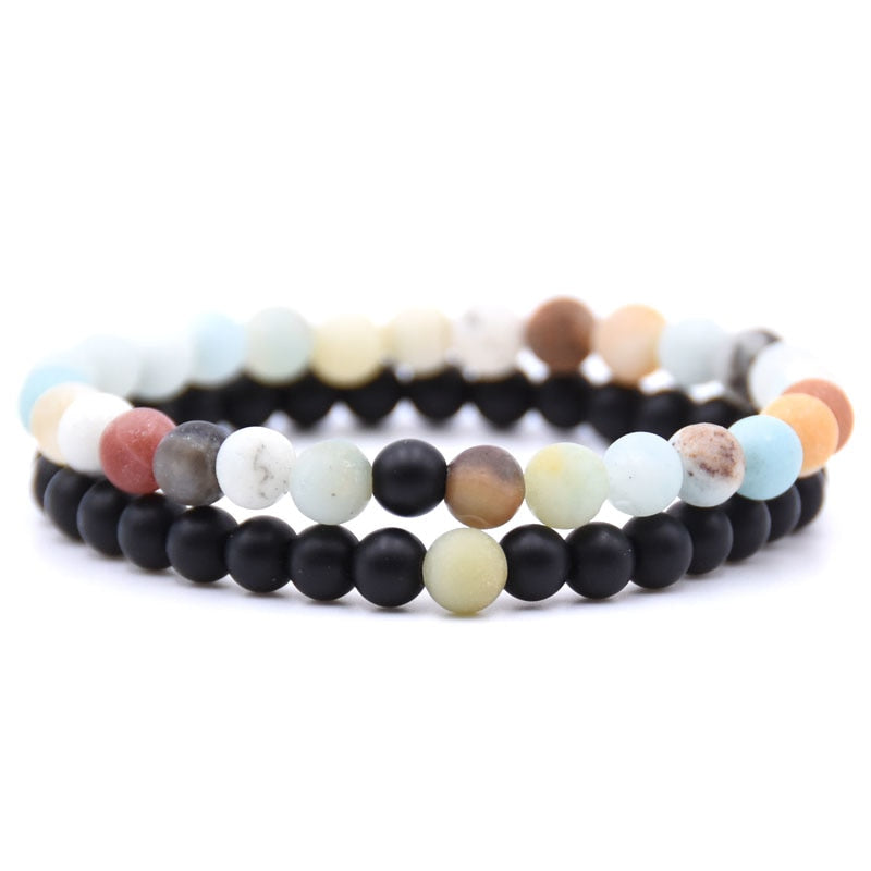 Natural Stone Mix Bracelets - Matte Onyx & Amazonite