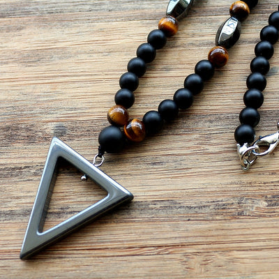Trinity of Knowledge, Love and Awareness Hematite Necklace