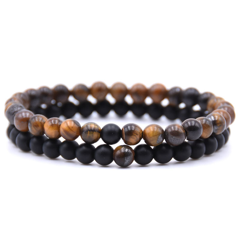 Natural Stone Mix Bracelets - Matte Onyx & Tiger Eye Stone