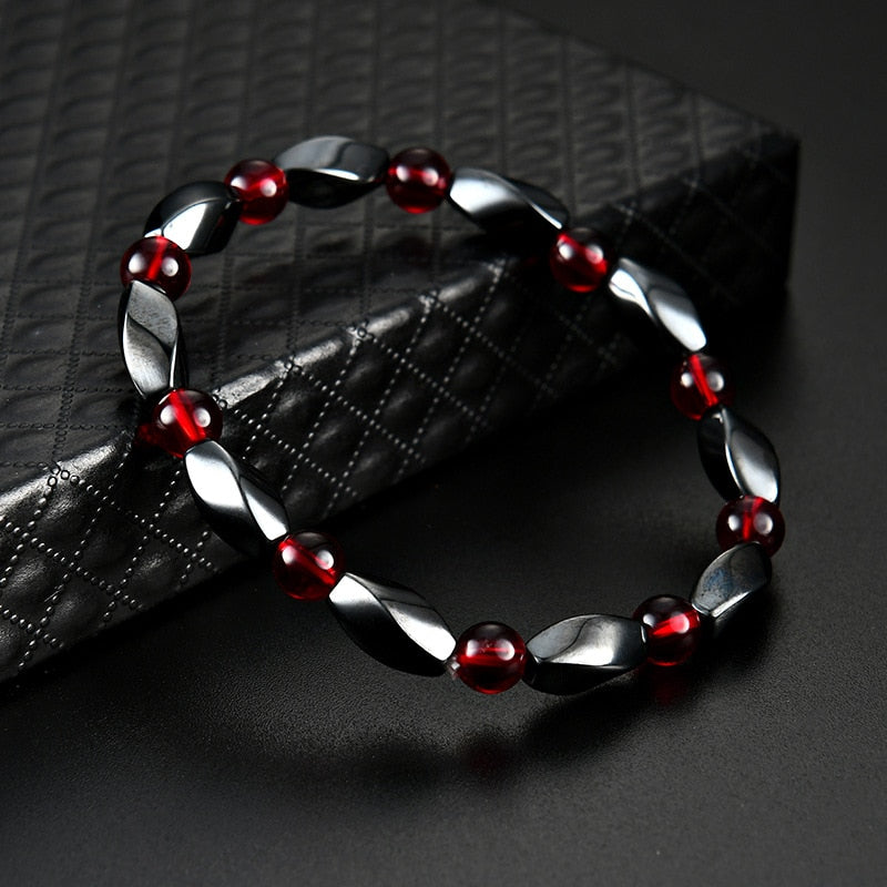 Magnetic Therapy Bracelet Black and Fire Engine Red