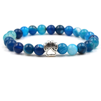 Natural Stone Beads Bracelet with Dog/Cat Footprint Paw Charm