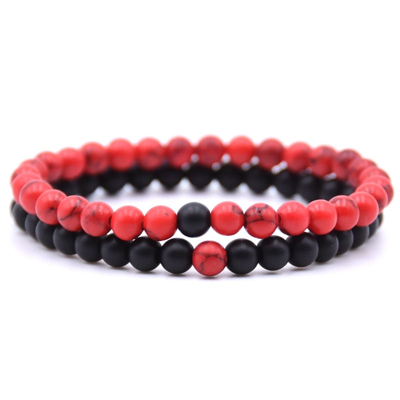 Natural Stone Mix Bracelets - Matte Onyx & Red Turquoise