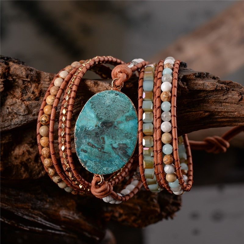 5X Leather Wrap Beaded Bracelet - Beautiful Ocean Stone