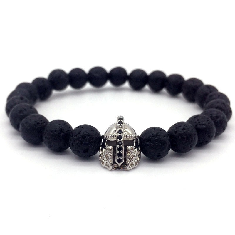 Black Lava Stone Horned Helmet Bracelet - 4 colors