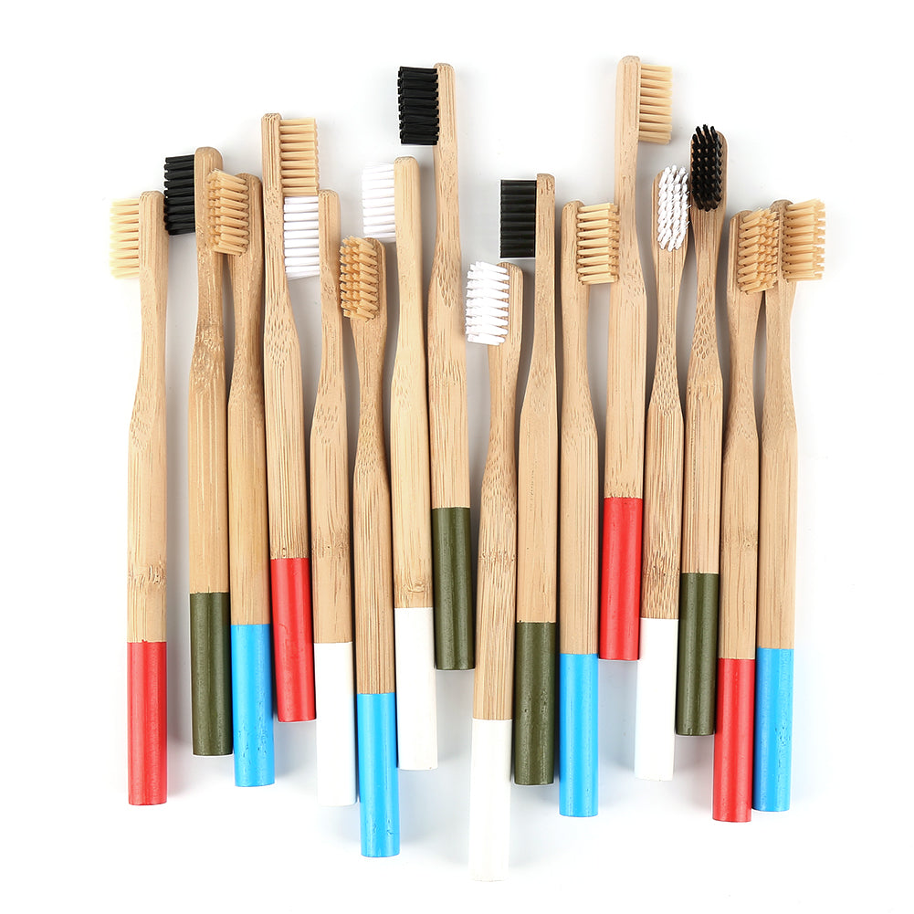 Df 92 Natural Bamboo Toothbrush with Round Bamboo Handle Soft Bristle Eco-friendly