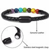 Leather Bracelet Chakra Stone Beads Bracelet