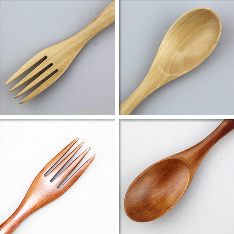 2 in 1 Bamboo Wooded Spoon Fork