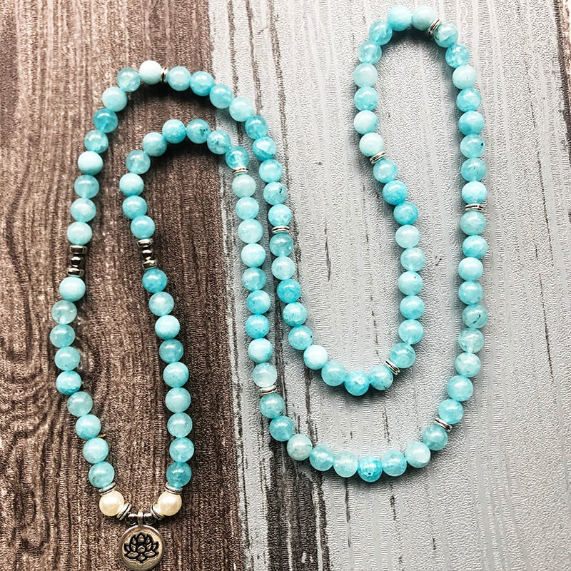 Deep sea Aquamarine Mala bracelet