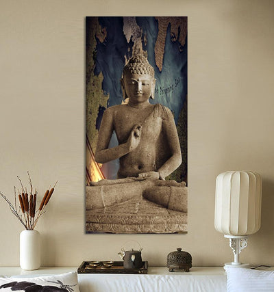 Painting buddha canvas in 3 panel