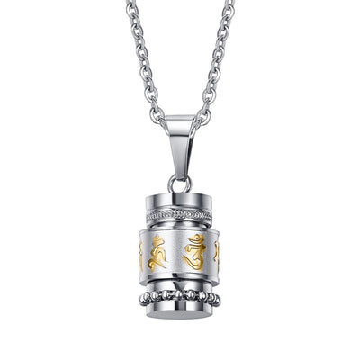 Tibetan Titanium Prayer Wheel Necklace