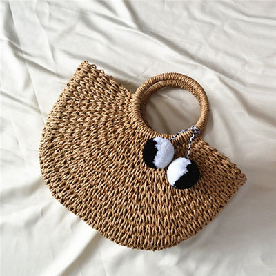 Pompom Straw Moon Bag