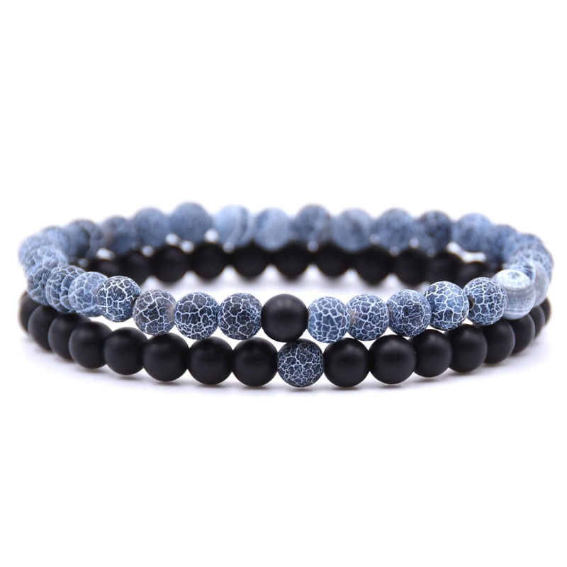 Natural Stone Mix Bracelets - Matte Onyx & Blue Imperial Stone
