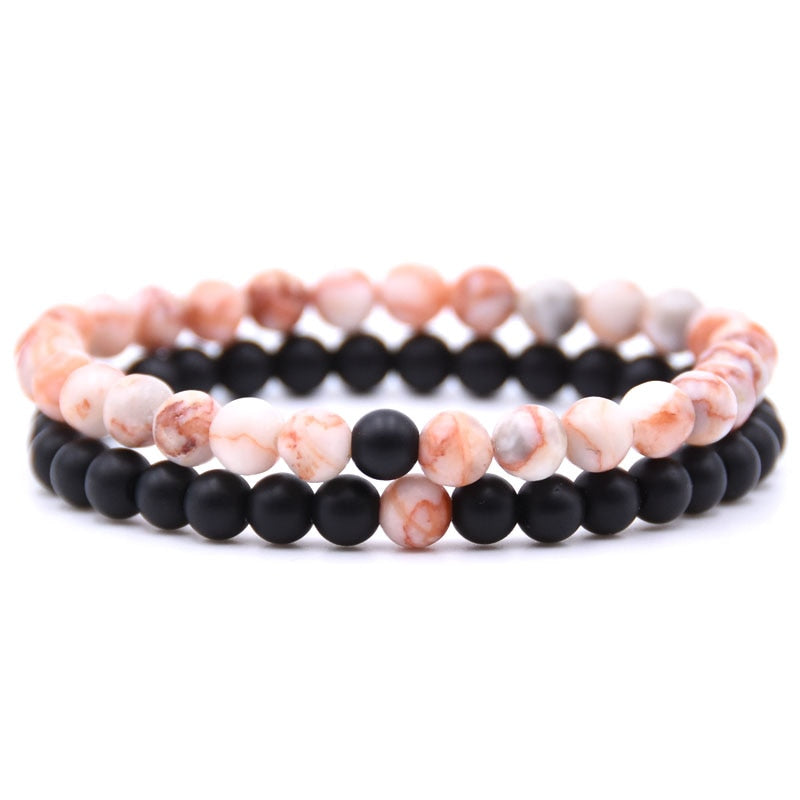 Natural Stone Mix Bracelets - Matte Onyx & Rose Quartz