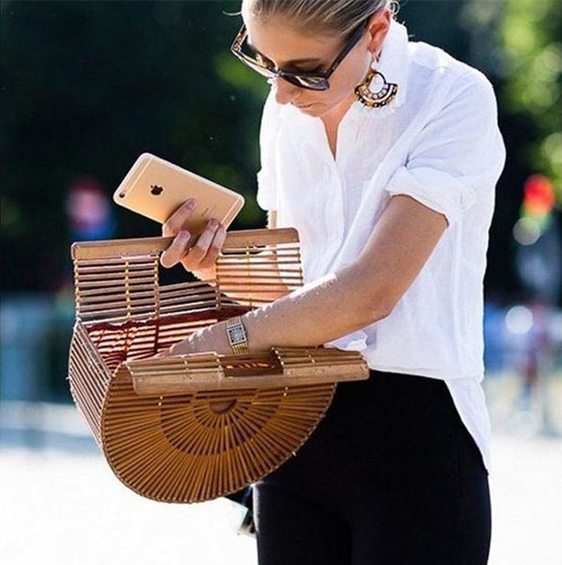 Elegant Bamboo Moon Basket Bag - 5 Colors