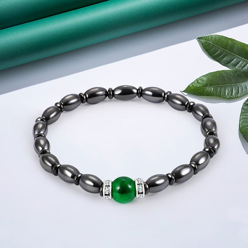 Magnetic Therapy Bracelet - Black and Bottle Green