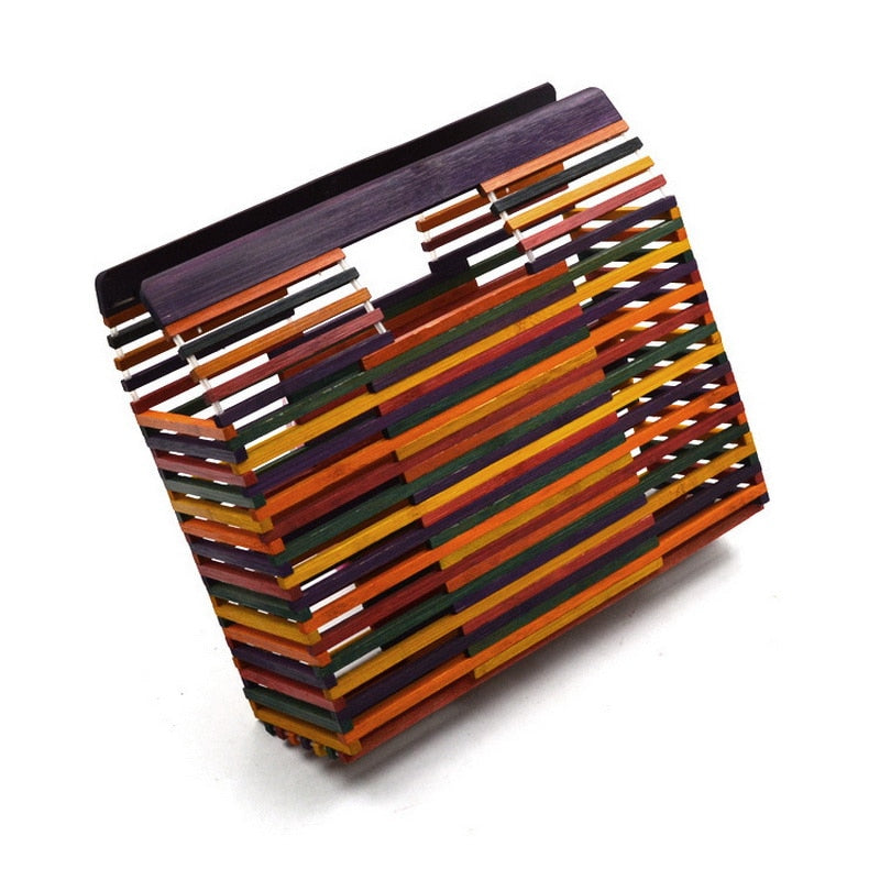 Df 138 Chic Mutil Color Square Bamboo Bags