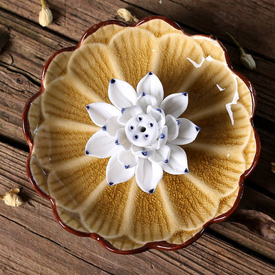 Handcraft Ceramic Lotus Incense Holder - 4 Elegant Colors