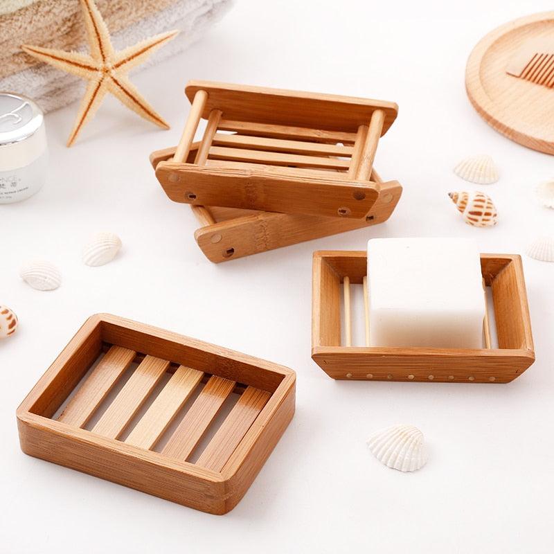 Portable bamboo Soap Dishes
