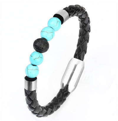 Leather Chakra Stone Beads Bracelet