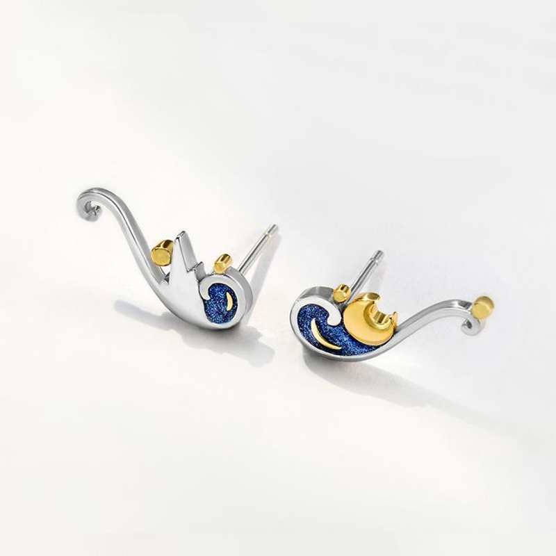 STARRY NIGHT VAN GOGH'S ENAMEL EARRINGS