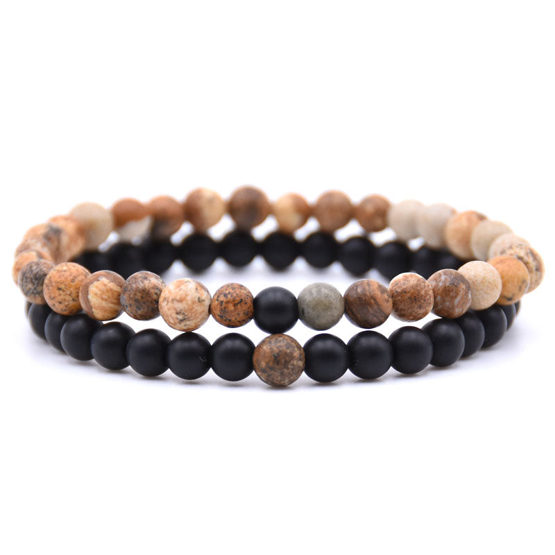 Natural Stone Mix Bracelets - Matte Onyx & Orange Calcite