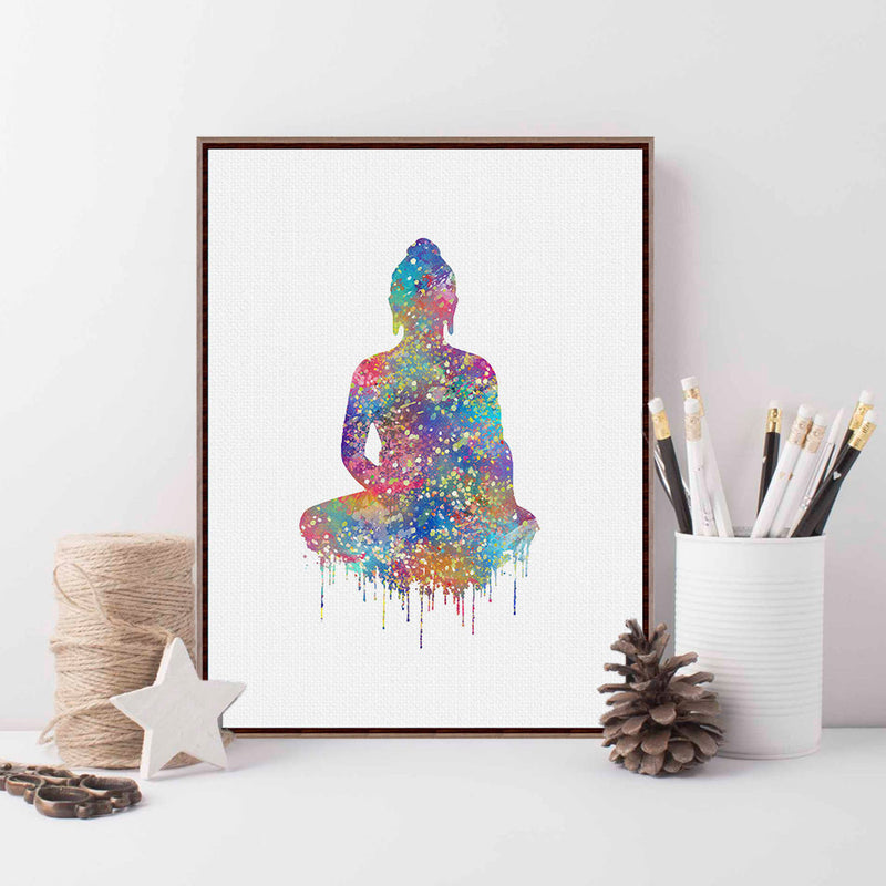 Df 88 Modern Watercolor Buddha Figure Poster Zen Lotus Peace Wall Art Picture