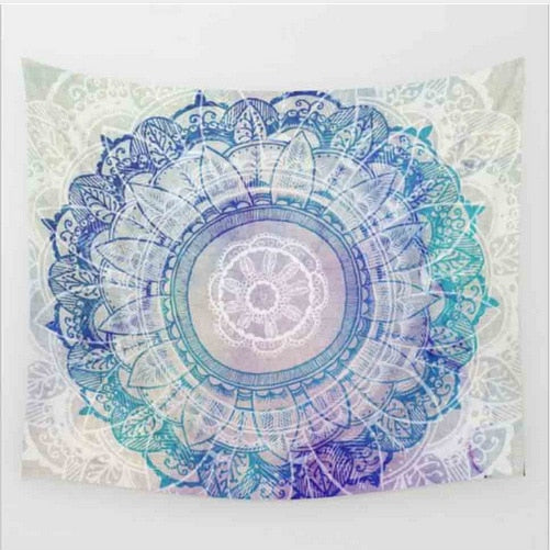 Bohemian Mandala Tapestry - Light Blue