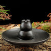 Multipurpose Black Ceramic Church Gourd Assuaging Calming Backflow Incense Burner Smoke Holder Plate Home Decor KT1042